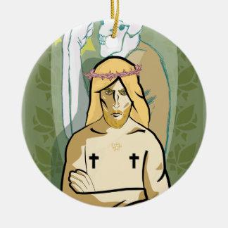 Jesus FiGhT Round Ceramic Ornament