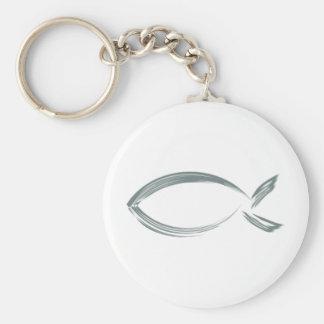 Jesus fish basic round button keychain