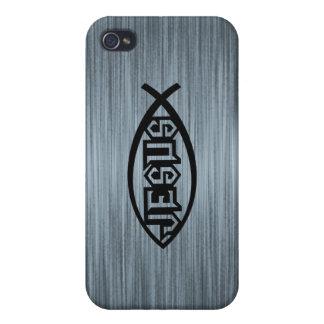 Jesus Fish Ichthys Fish Metallic Look iPhone 4 Cover