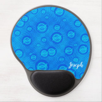 Jesus fish in blue bubbles gel mouse pad