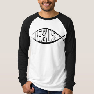 Jesus Fish: Men Sleeve Raglan T-Shirt