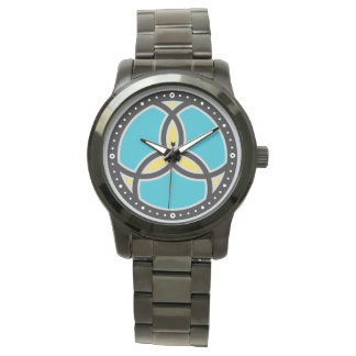 Jesus Fish Trinity Stained Glass Logo - teal Wristwatches