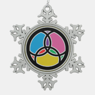 Jesus Fish Trinity Stained Glass - Multicolored Pewter Snowflake Ornament