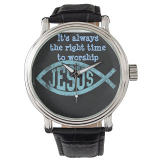 Jesus Fish Vintage Black Men's Watch