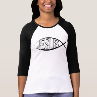 Jesus Fish: Women Sleeve Raglan T-Shirt