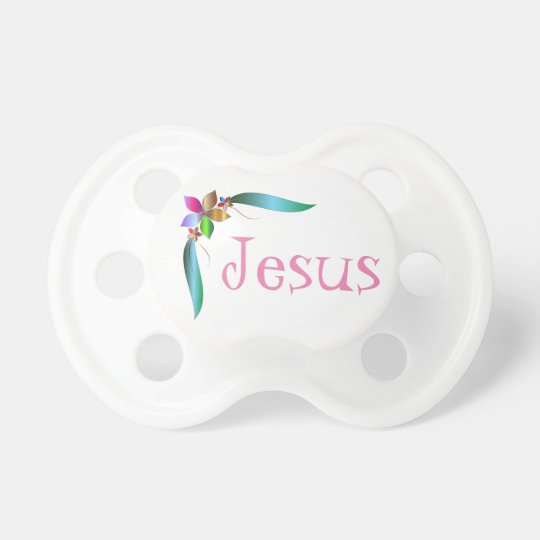 JESUS FLOWER RIBBON BABY PACIFIERS