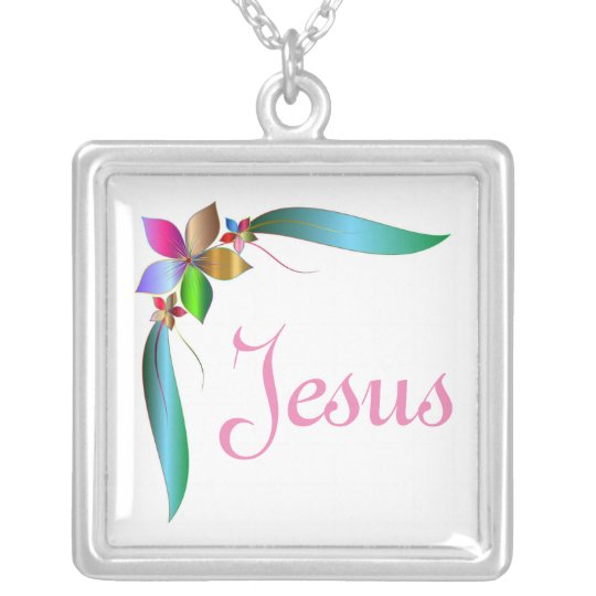 JESUS FLOWER RIBBON SILVER PLATED NECKLACE