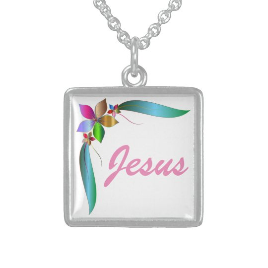 JESUS FLOWER RIBBON STERLING SILVER NECKLACE