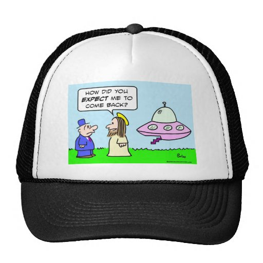 jesus flying saucer expect come back mesh hats