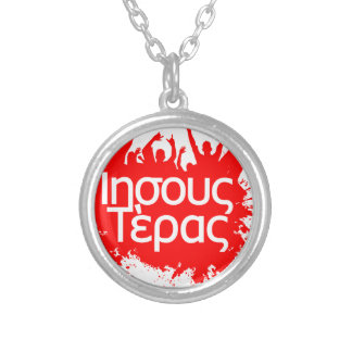 jesus freak in greek silver plated necklace