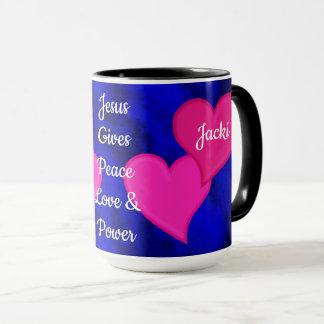 Jesus Gives Peace Love & Power - Personalized Mug