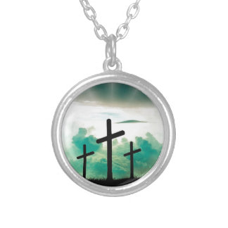 Jesus Has Risen (Three Crosses) Silver Plated Necklace