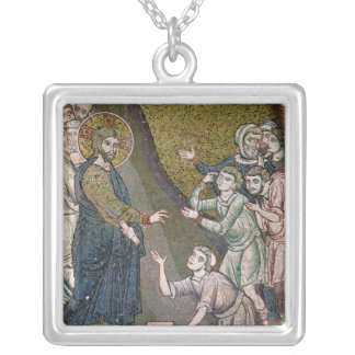 Jesus Healing the Crippled and the Blind Silver Plated Necklace