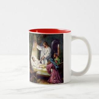 Jesus Heals the little Girl Mark 5:41 Two-Tone Mug