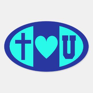 Jesus Hearts U Oval Sticker