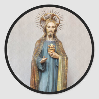 Jesus Holding Golden  Sacred Heart Classic Round Sticker