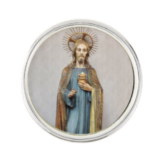 Jesus Holding Golden  Sacred Heart Lapel Pin