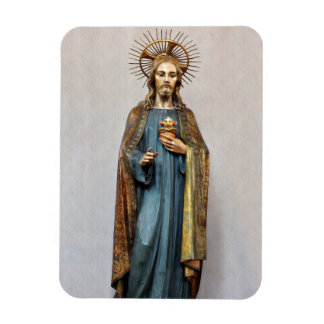 Jesus Holding Golden Sacred Heart Rectangular Photo Magnet