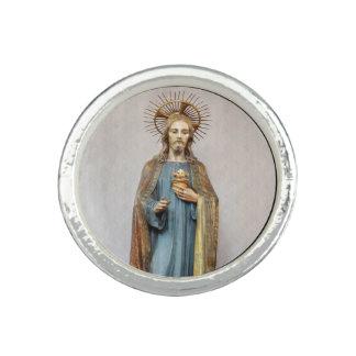 Jesus Holding Golden Sacred Heart Ring