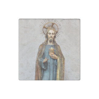 Jesus Holding Golden Sacred Heart Stone Magnets