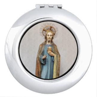 Jesus Holding Golden Sacred Heart Travel Mirror
