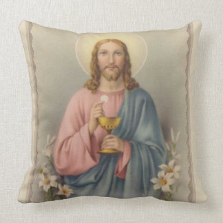 Jesus holding the Eucharist & Chalice Throw Pillow