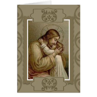 Jesus holding young girl child card