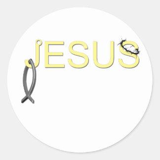Jesus hook And Fish Round Sticker
