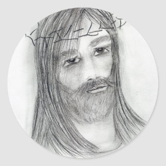 jesus in agony classic round sticker