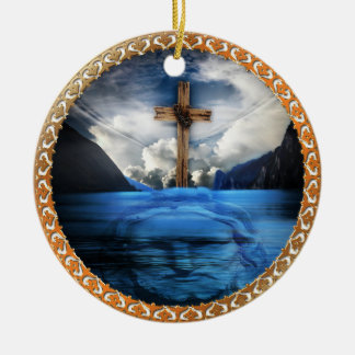 Jesus in the ocean with a wooded cross ceramic ornament