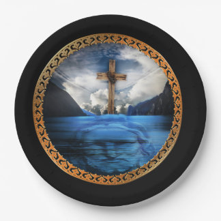 Jesus in the ocean with a wooded cross paper plate