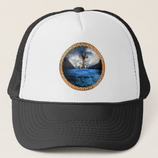 Jesus in the ocean with a wooded cross trucker hat