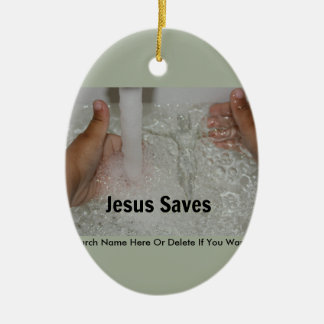 Jesus In Water With Two Thumbs Up Church Promotion Ceramic Ornament