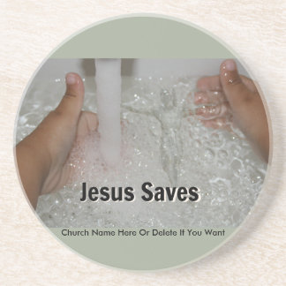 Jesus In Water With Two Thumbs Up Church Promotion Coaster