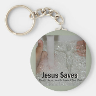 Jesus In Water With Two Thumbs Up Church Promotion Keychain