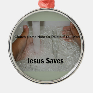 Jesus In Water With Two Thumbs Up Church Promotion Metal Ornament
