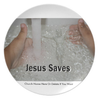 Jesus In Water With Two Thumbs Up Church Promotion Plate