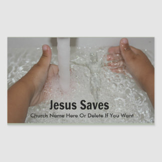 Jesus In Water With Two Thumbs Up Church Promotion Sticker