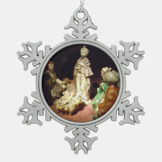 Jesus is Born Snowflake Pewter Christmas Ornament