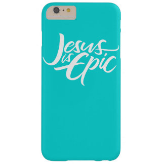 Jesus is Epic Lettering Christian Tiffany Aqua Barely There iPhone 6 Plus Case
