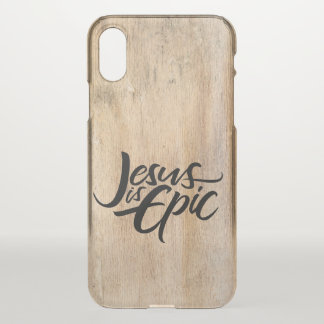 Jesus is Epic Religious Rustic Wood Country iPhone X Case