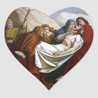 Jesus is Laid in the Tomb Stations of the Cross 14 Heart Sticker