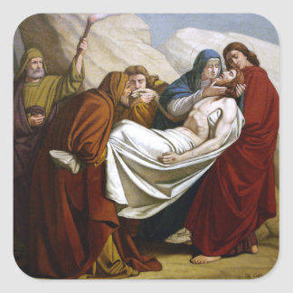 Jesus is Laid in the Tomb Stations of the Cross 14 Square Sticker