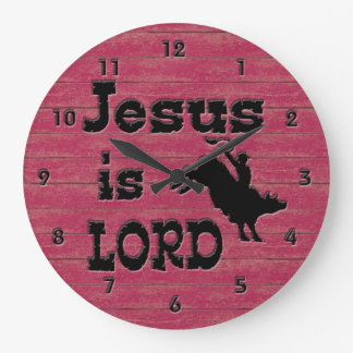 Jesus is Lord Bull Rider Large Clock