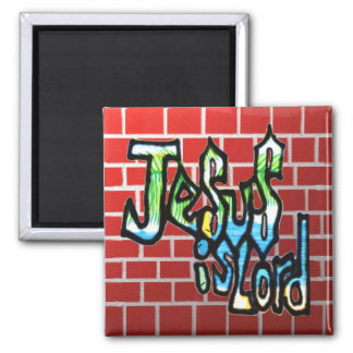 Jesus is Lord on red brick Magnet