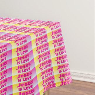 Jesus Is Love (pastel plaid) Tablecloth