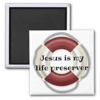 Jesus is my life preserver   Square kitchen magnet