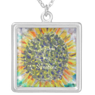 Jesus is my Sunshine Sunflower Silver Plated Necklace