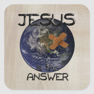 Jesus is the Answer Christian Gift Square Sticker