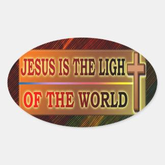 JESUS IS THE LIGHT OVAL STICKER